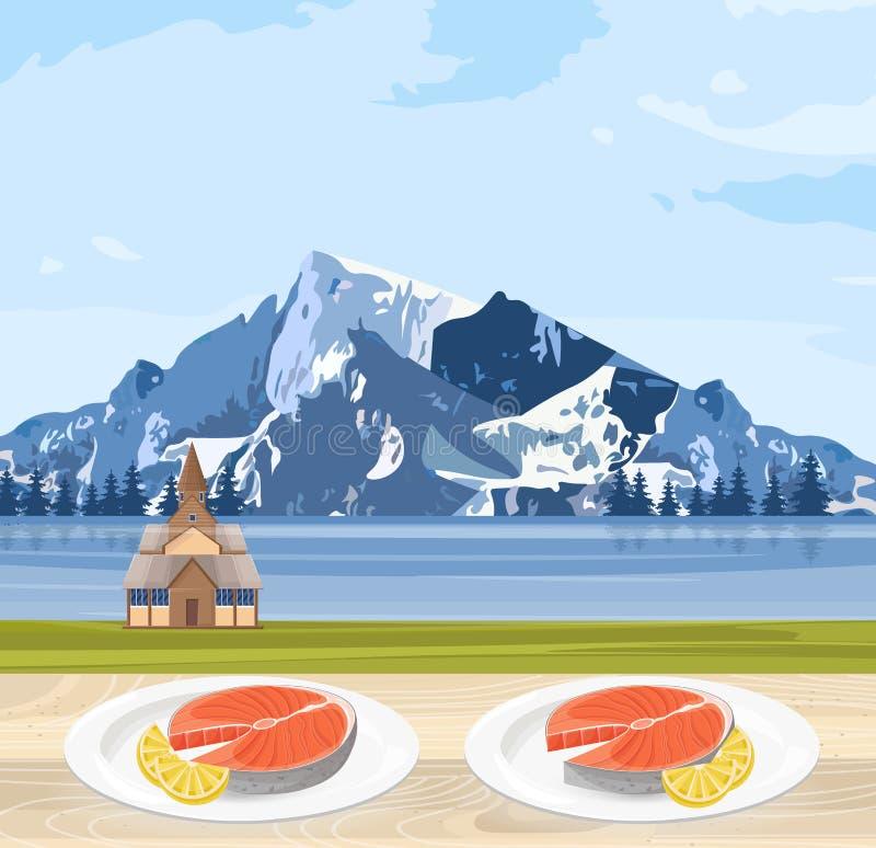 Кухня и горы Норвегии Salmon еды национальная благоустраивают вектор иллюстрация штока