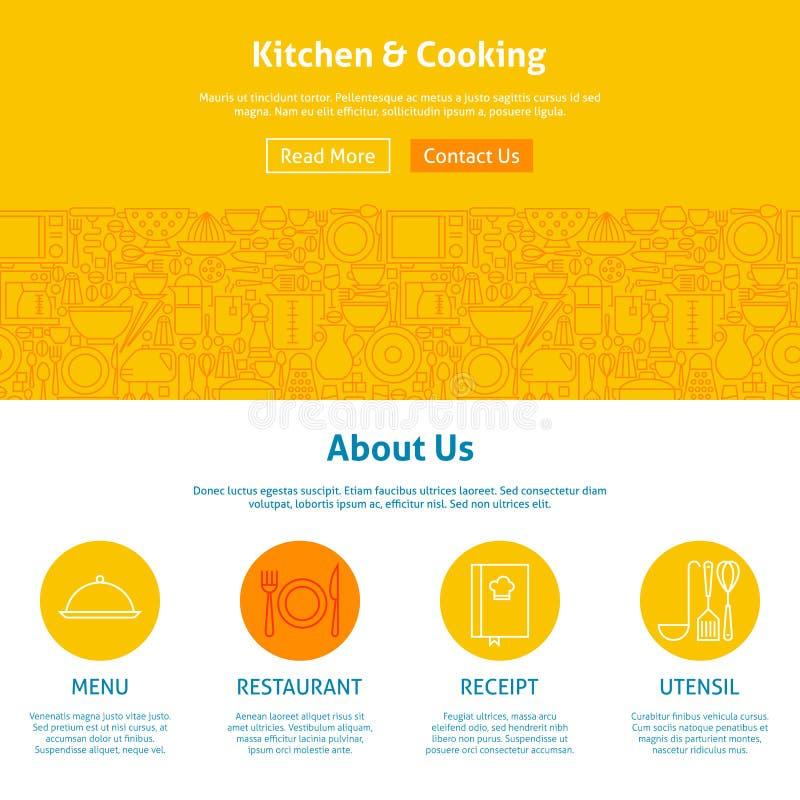 Кухня и линия шаблон варить веб-дизайна искусства бесплатная иллюстрация