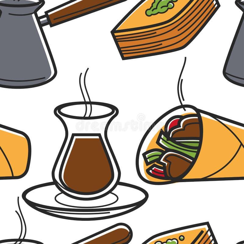Кухня картины турецкой еды безшовные и путешествовать напитков иллюстрация штока