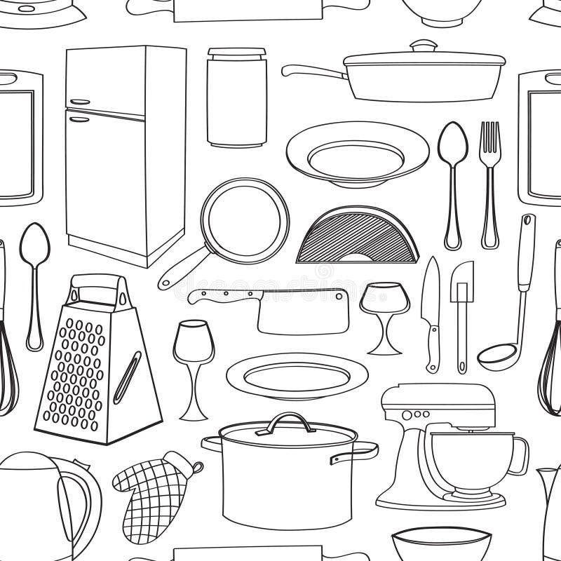 Кухня картины Doodle иллюстрация вектора