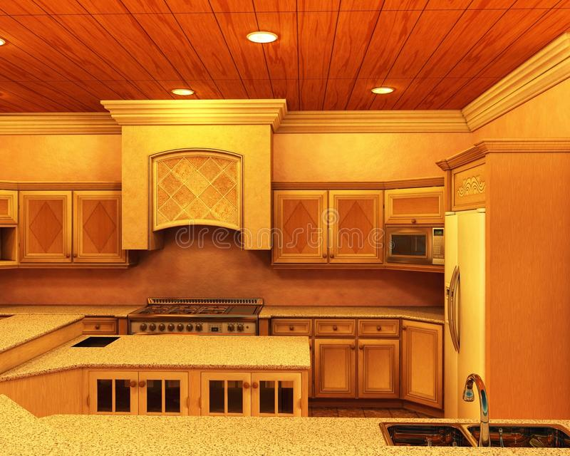кухня конструктора освещая самомоднейшую нежность иллюстрация штока