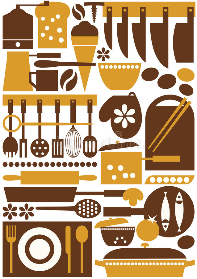 Кухня оборудует безшовное иллюстрация вектора