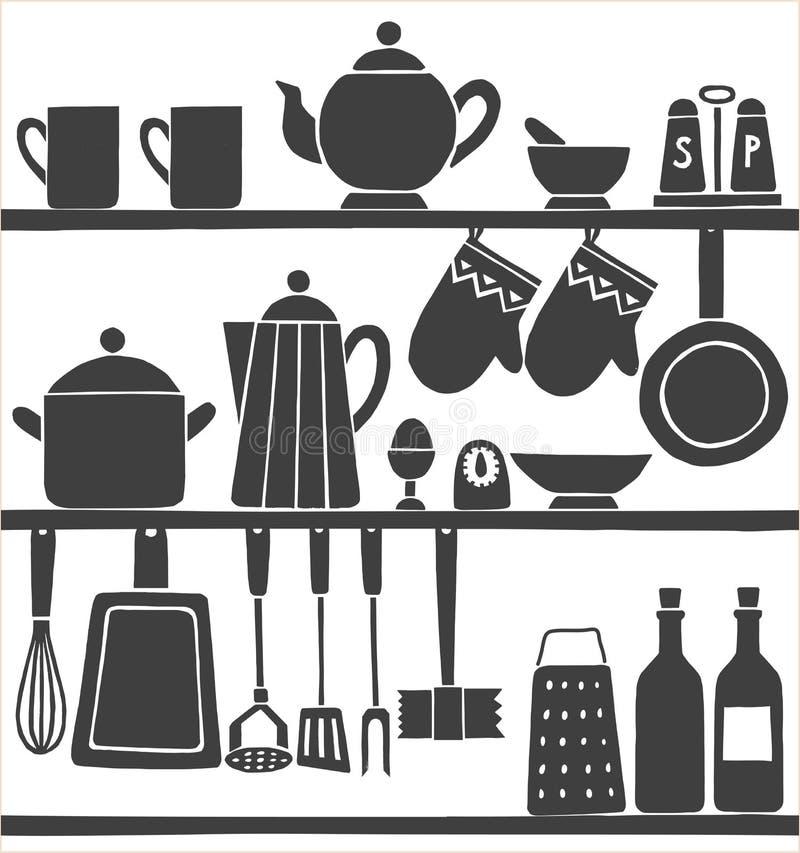 Кухня оборудует monochrome картину нарисованную рукой безшовную бесплатная иллюстрация