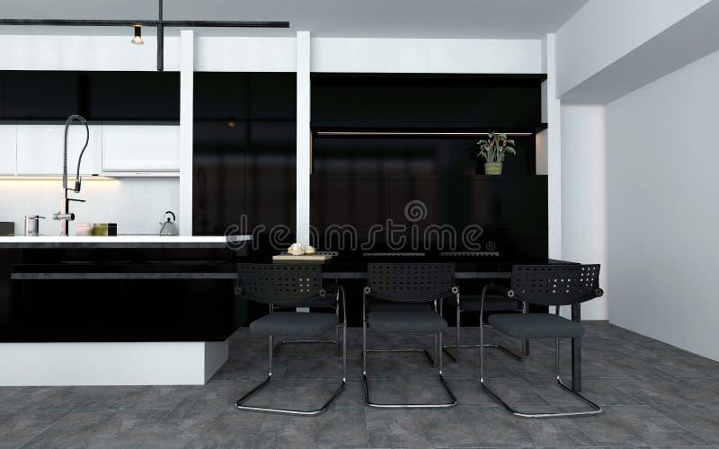 кухня Открыт-плана с счетчиком бара бесплатная иллюстрация
