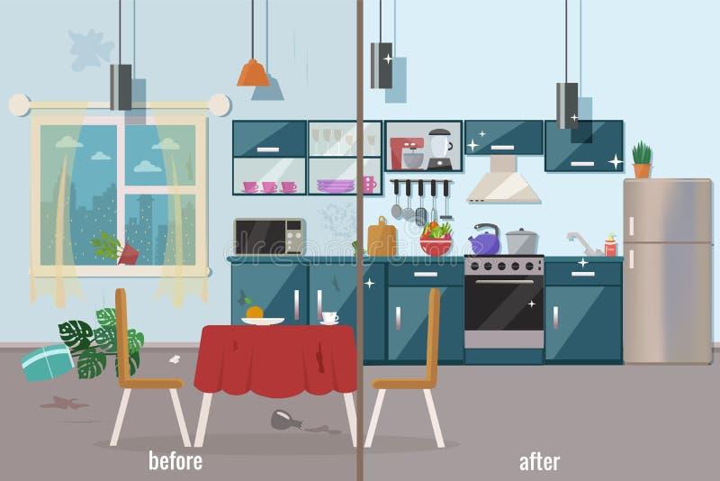 Кухня перед и после чисткой бесплатная иллюстрация
