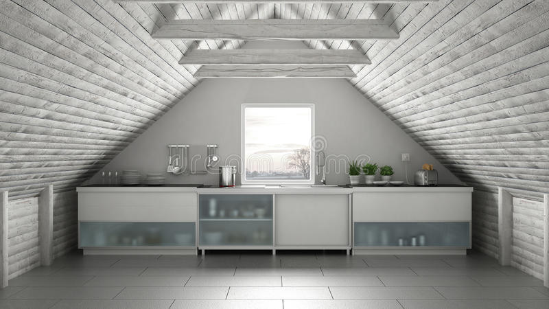 Кухня Скандинавии промышленная, мезонин просторной квартиры, architectur крыши бесплатная иллюстрация