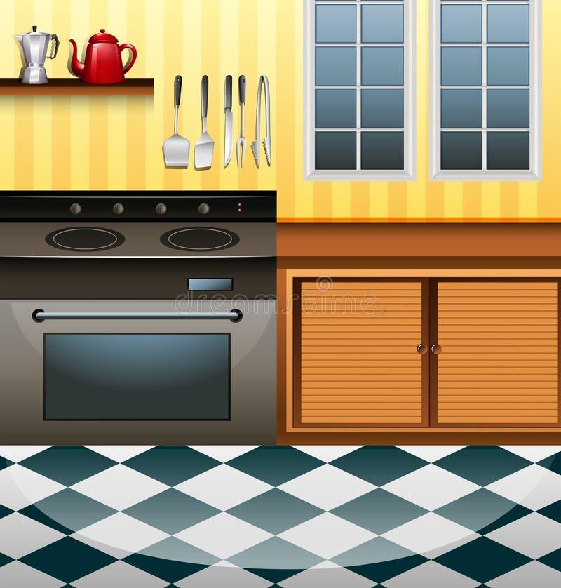Кухня с микроволной и счетчиком иллюстрация штока