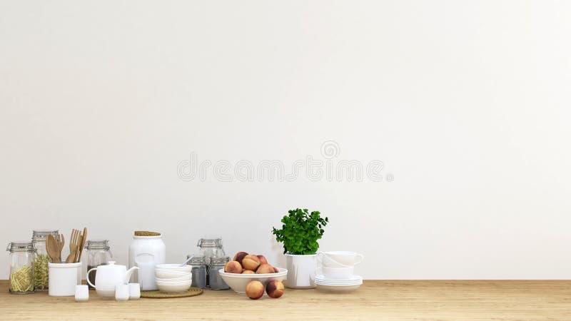 Кухня установила на деревянный пол и белую стену - перевод 3D бесплатная иллюстрация