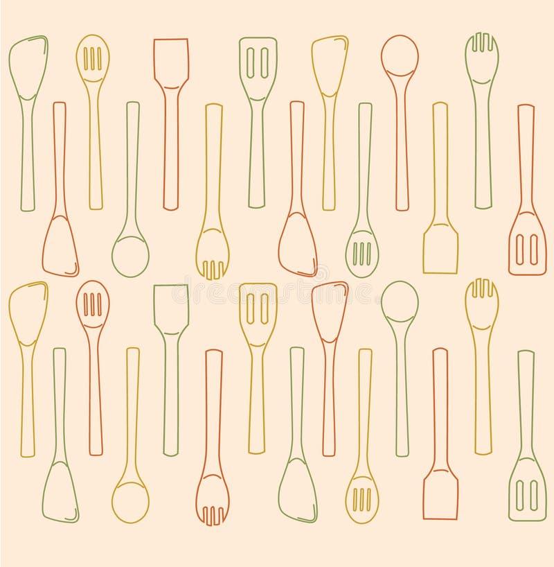 Кухня черпает вектор ложкой иллюстрации предпосылки бесплатная иллюстрация