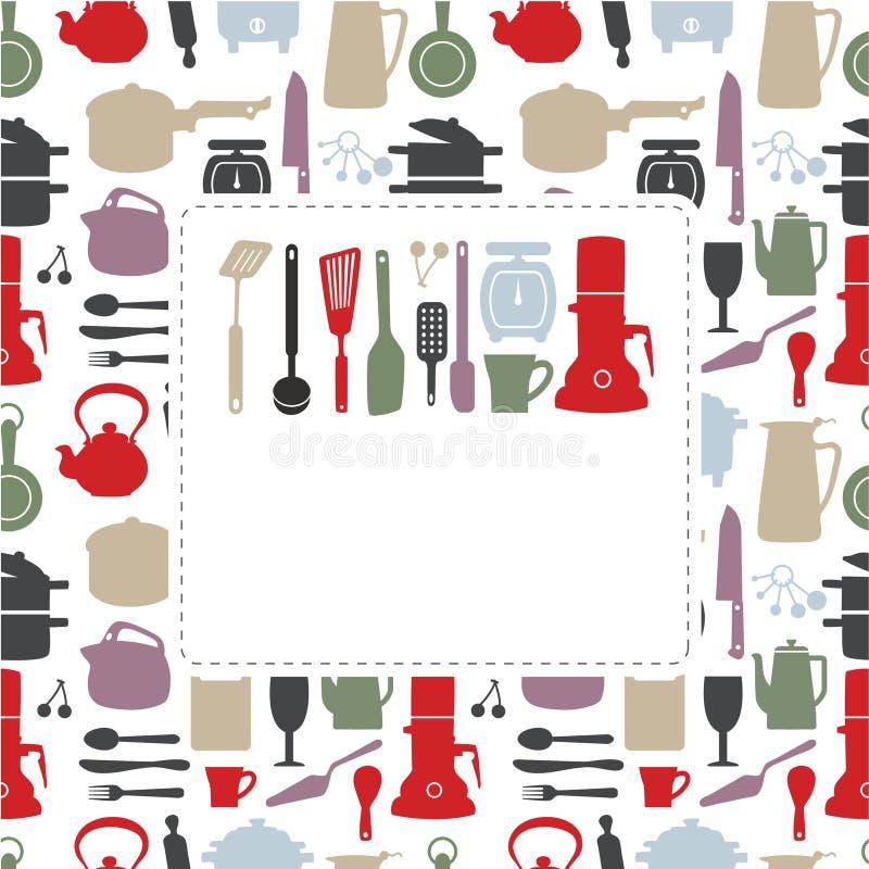кухня шаржа карточки иллюстрация вектора