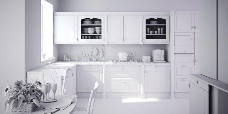 кухня 3d самомоднейшая представляет бесплатная иллюстрация