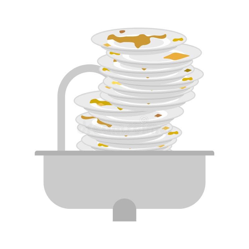 Кухонная раковина и пакостные блюда поганый tableware Illustr вектора иллюстрация штока