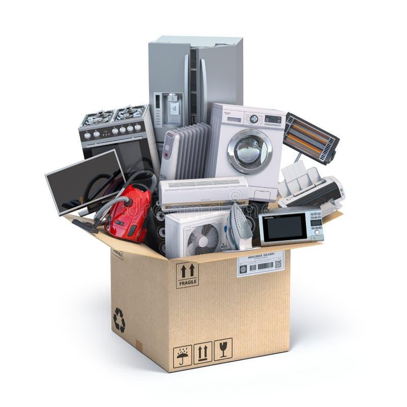 Кухонные приборы домочадца в открытой картонной коробке Доставка, двигать и онлайн ходя по магазинам концепция бесплатная иллюстрация