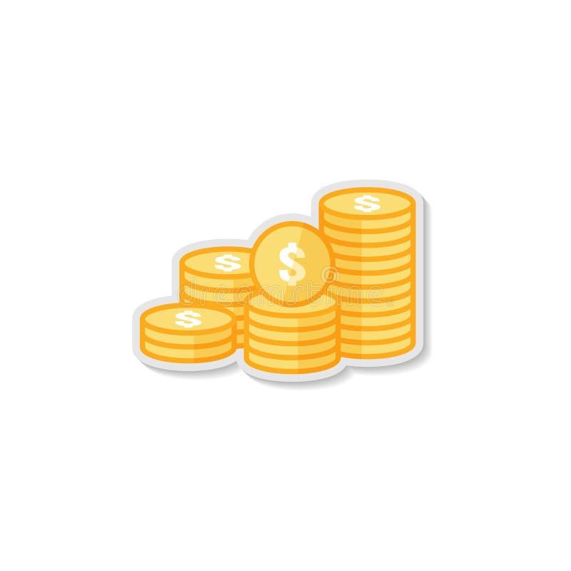 куча доллара чеканит значок стог денег золота золотой для финансирования выгоды концепция для графиков информации, websit роста к иллюстрация вектора