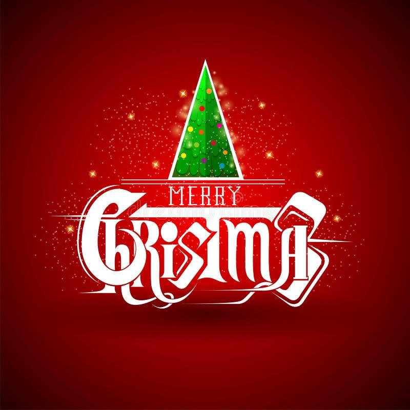 Куча дерева Нового Года на литерности рождества на красном цвете бесплатная иллюстрация