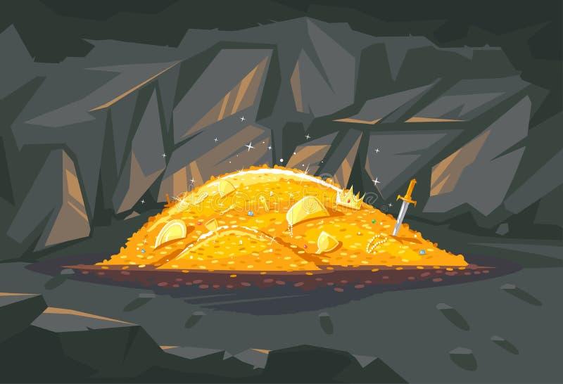 Куча золотого сокровища в иллюстрации пещеры бесплатная иллюстрация