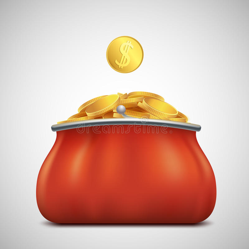 Куча золотых монеток в портмоне Выгода и доход шток иллюстрация штока