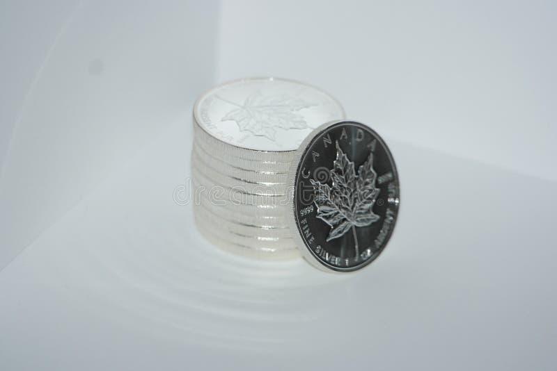 Куча канадских серебряных монет стоковые фотографии rf