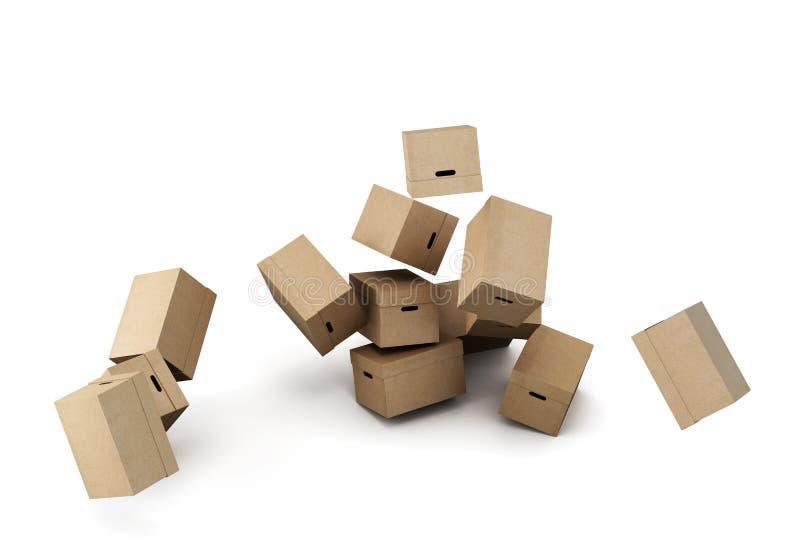 Куча картонных коробок, схематическое изображение на белой предпосылке иллюстрация штока