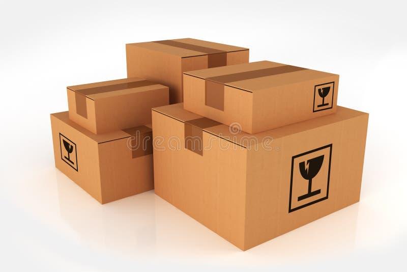 Куча коробок доставки иллюстрация вектора