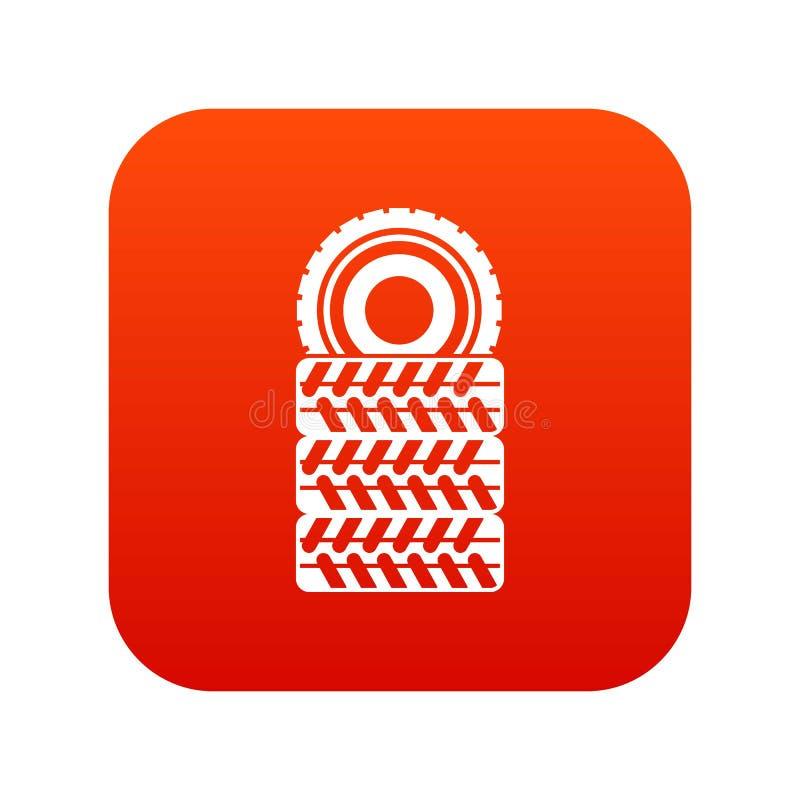 Куча красного цвета значка автошин цифрового бесплатная иллюстрация