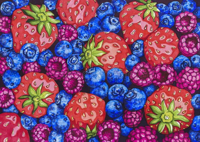 Куча красочных свежих ягод иллюстрация штока