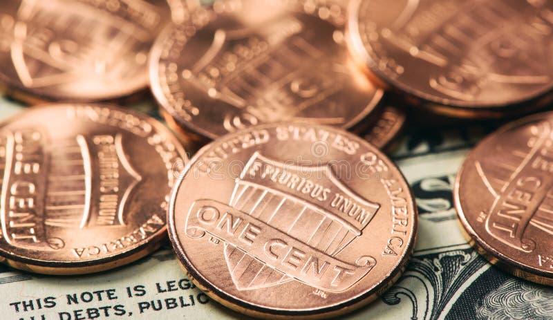 Куча монеток одного цента стоковая фотография