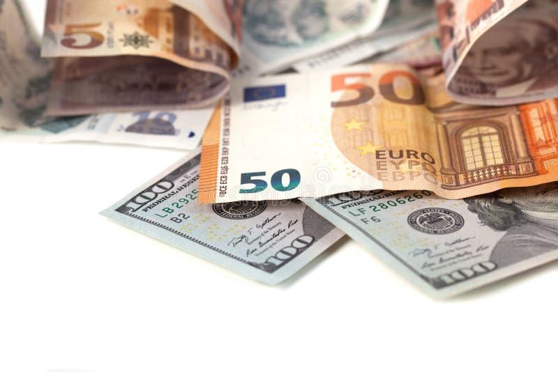 Куча мягких денег: доллары и евро стоковое изображение rf