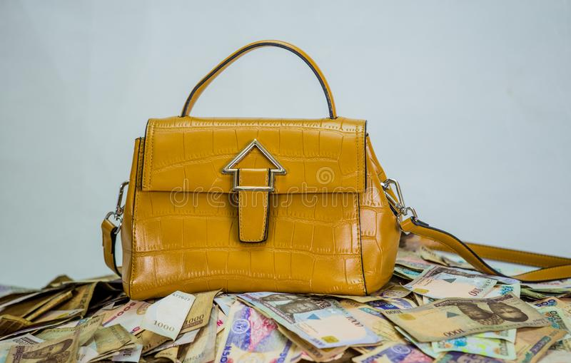 Куча наличных денег найры с сумкой женщин - концепцией цены высокой моды стоковая фотография