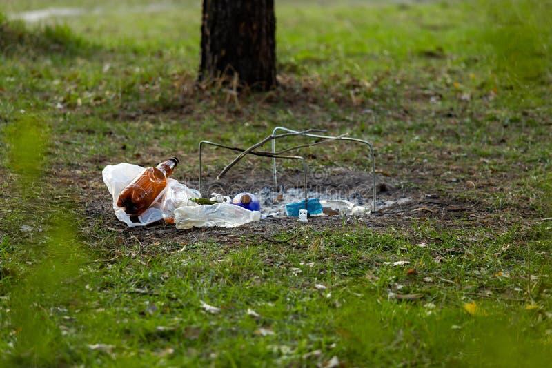 Куча отброса в Forest Park около места лагерного костера загрязнение окружающей среды стоковое фото rf