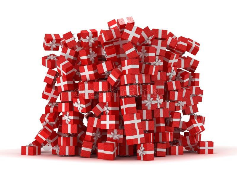 куча подарка коробок представляет красный цвет бесплатная иллюстрация