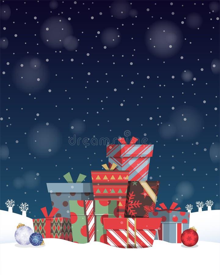 Куча подарков c рождества бесплатная иллюстрация