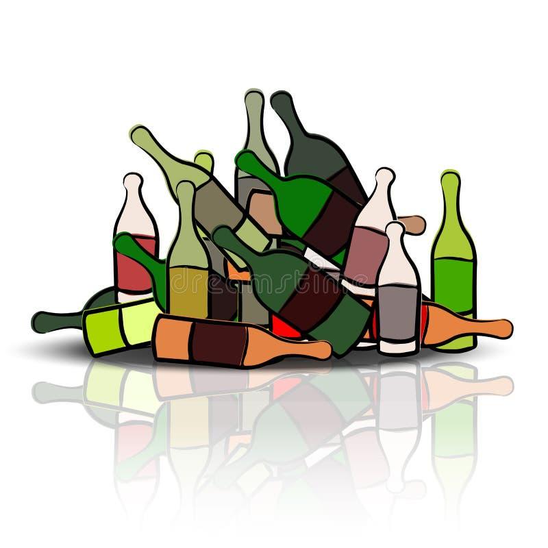 Куча пустых бутылок иллюстрация штока