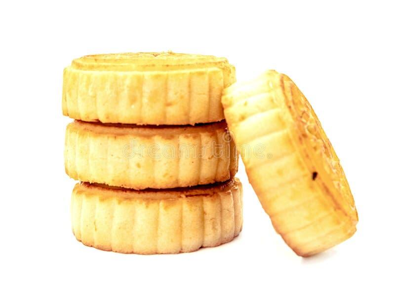Куча фестиваля Средний-осени mooncakes изолированных на белой предпосылке стоковая фотография rf