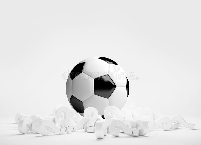 Куча шарика футбола футбола перевода вопросительных знаков 3d бесплатная иллюстрация