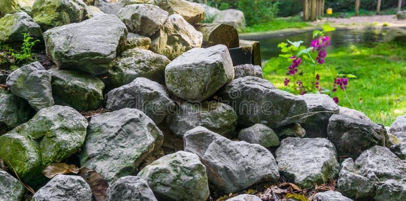 Куча штабелированного камня известки трясет в конце вверх по красивой предпосылке текстуры украшения сада стоковое фото