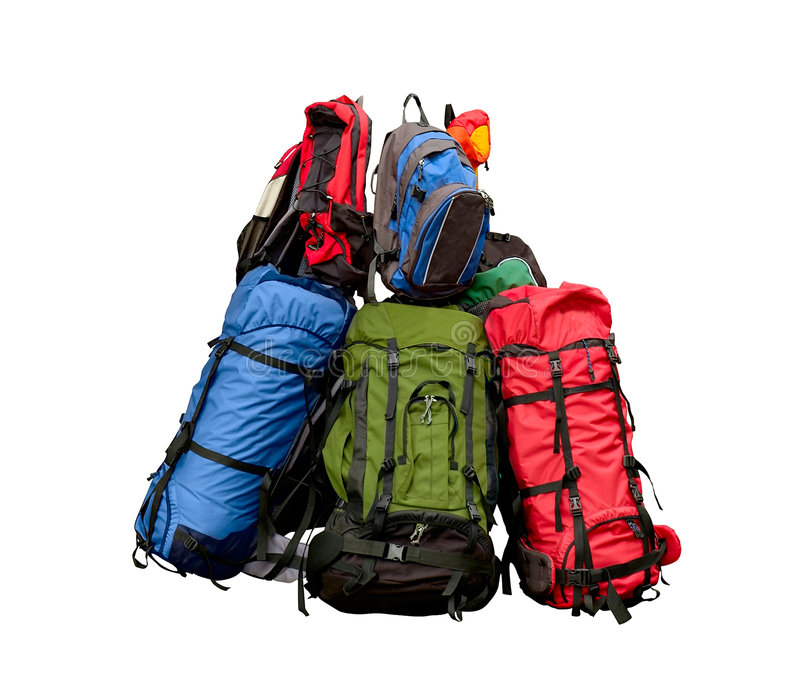 куча backpacks стоковое фото rf