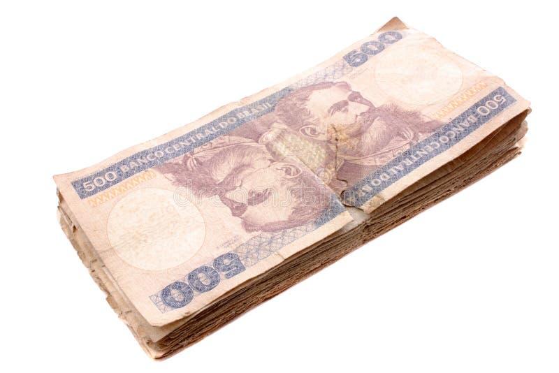 Куча 500 Cruzeiros - старый бразильский счет стоковое изображение