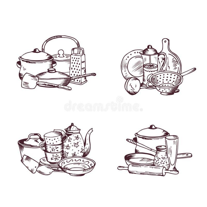 Кучи вектора нарисованных рукой установленных утварей кухни иллюстрация вектора