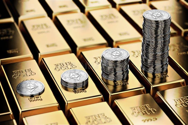 Кучи Ethereum на строках золотых инготов золота в слитках Ethereum держит вырасти и как желательно как золото- концепция иллюстрация штока