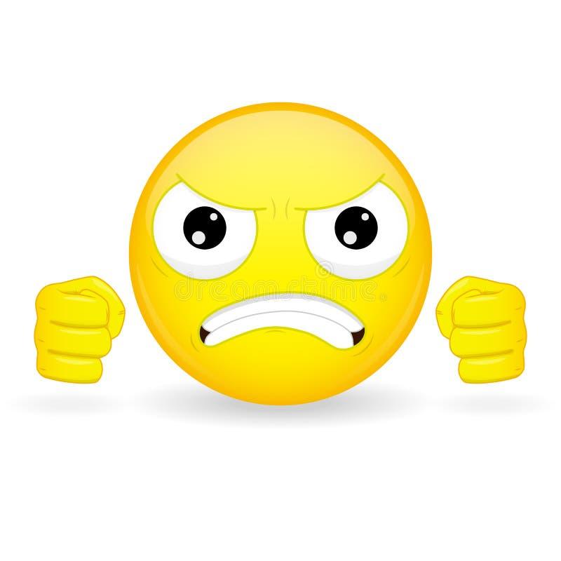 Кулаки сжиманные смайликом Сердитый смайлик Злой смайлик Злющее emoji Эмоция гнева Значок улыбки иллюстрации вектора иллюстрация вектора