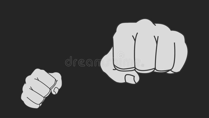 Кулаки человека Clenched поразительные в позиции боя мелок бесплатная иллюстрация