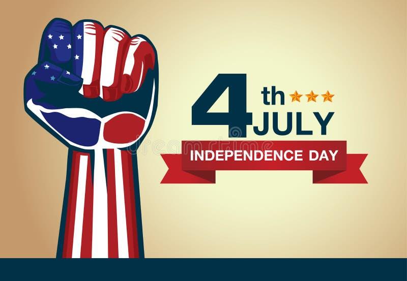 Кулак американского флага с Днем независимости 4-ое июля логотипа иллюстрация штока