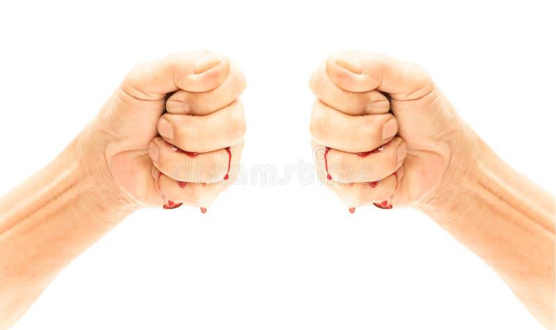 Кулак и кровотечение на белой предпосылке, насилии или horro страха стоковая фотография rf