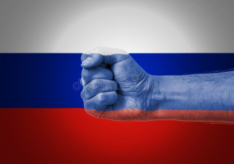 Кулак над флагом России стоковые изображения