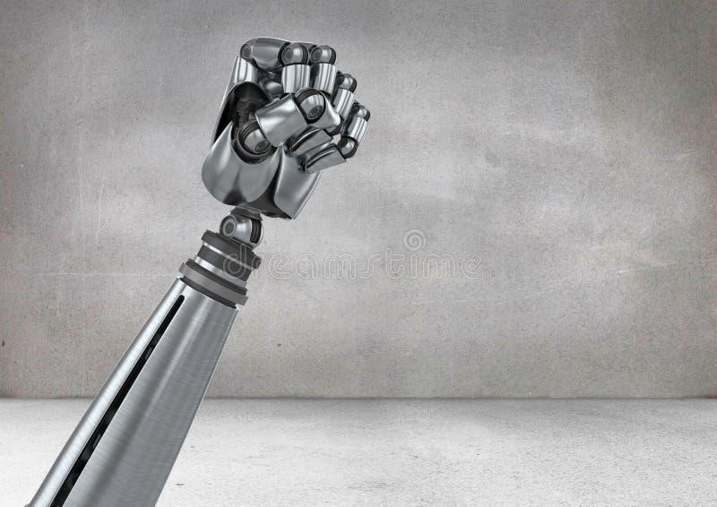 Кулак робота против серой предпосылки бесплатная иллюстрация