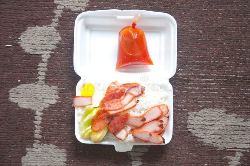 Кудрявый зажаренный в духовке стиль свинины живота китайский стоковые изображения rf