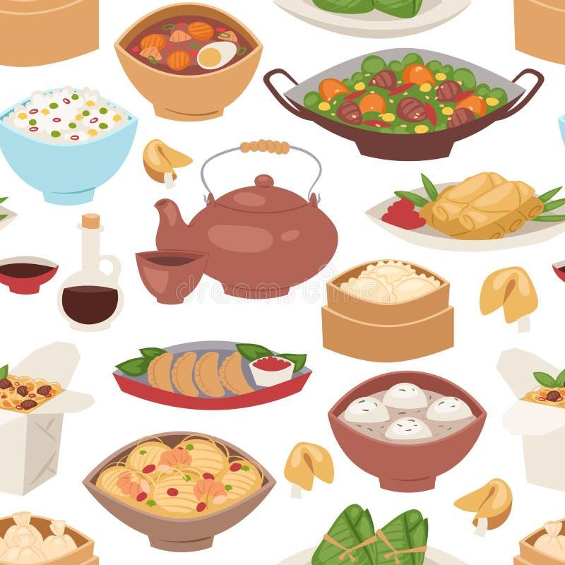 Культура плиты еды Азии риса ресторана еды картины японской кухни суш традиционная безшовная плоско здоровая восточная иллюстрация штока