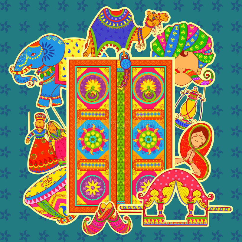 Культура Раджастхана в индийском стиле искусства бесплатная иллюстрация