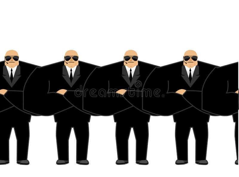 культуристов Черный костюм и хэндс-фри Охранник Защита a иллюстрация штока
